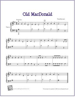 Old MacDonald | Free Sheet Music for Easy Piano - http://makingmusicfun.net/htm/f_printit_free_printable_sheet_music/old-macdonald-piano-solo.htm