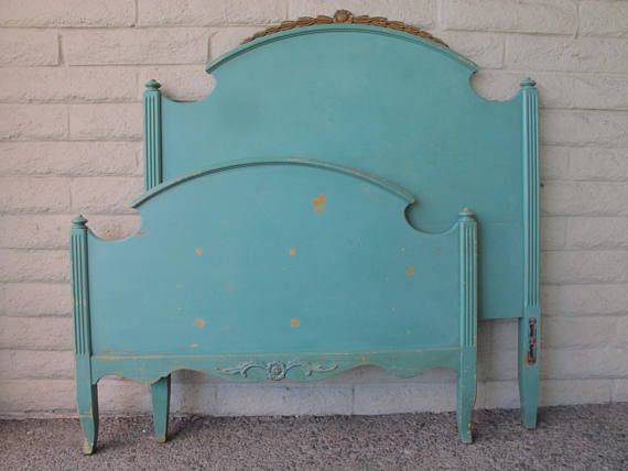 Vintage Twin Bed Headboard & Footboard Green 1920s  30s