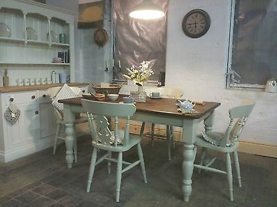 Gorgeous Painted Dark Waxed Shabby Chic Table And Chairs In Farrow & Ball 'Bone'