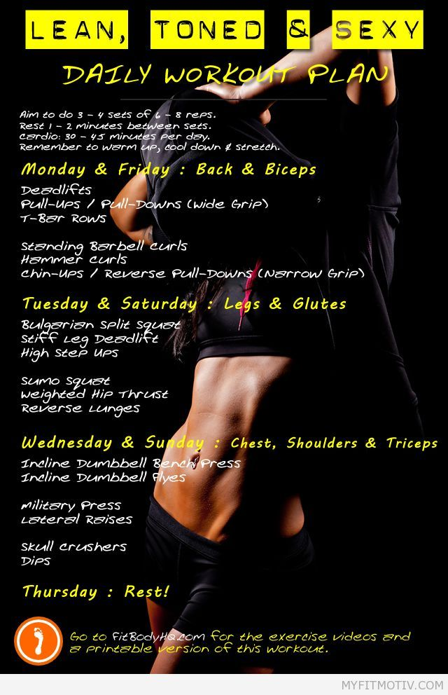 Get lean, toned & sexy with this daily workout pla - http://myfitmotiv.com/get-lean-toned-sexy-with-this-daily-workout-pla-3/ #fitness #workout #motivation #training #crossfit