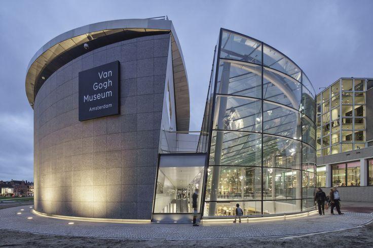 Van Gogh Museum entrance by Hans van Heeswijk Architects in Amsterdam, Netherlands