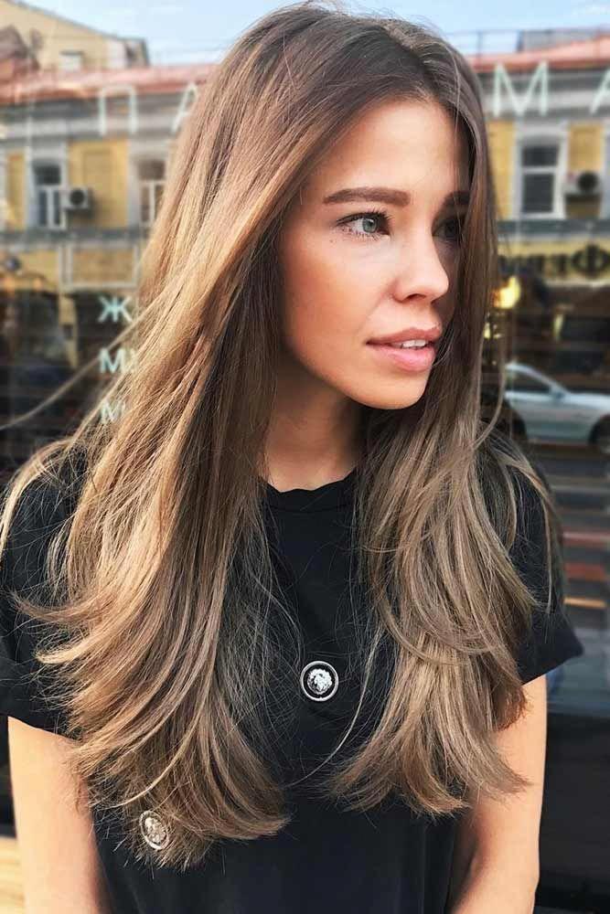 Gesicht, das lange gerade Schichten gestaltet #lognhair #layeredhair #straighthair ★ Entdecken Sie Spitzen, wie man glattes Haar erhält. Unsere Tipps werden für kurze, med ...