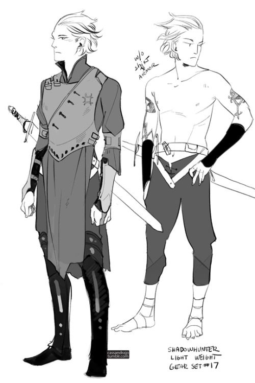 """cassandrajp: """"  Concept art for Shadowhunter Gear. Set #17: An old fashioned set with armored legs/cuffs and a hard leather chestpiece but easy to put on/off. An alternative to the more complicated Cloaked Lightweight Set. """""""