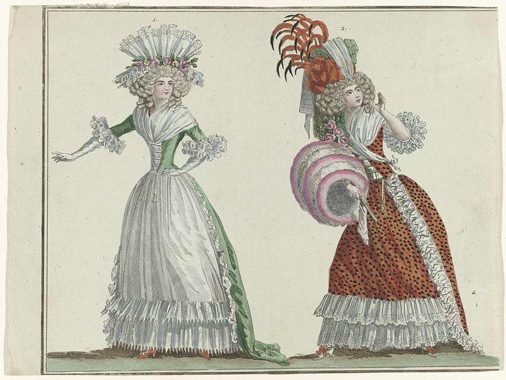 Magasin des Modes Nouvelles Françaises et Anglaises, 20 février 1788, Pl.  1,2, A.B. Duhamel, Defraine, Buisson, 1788