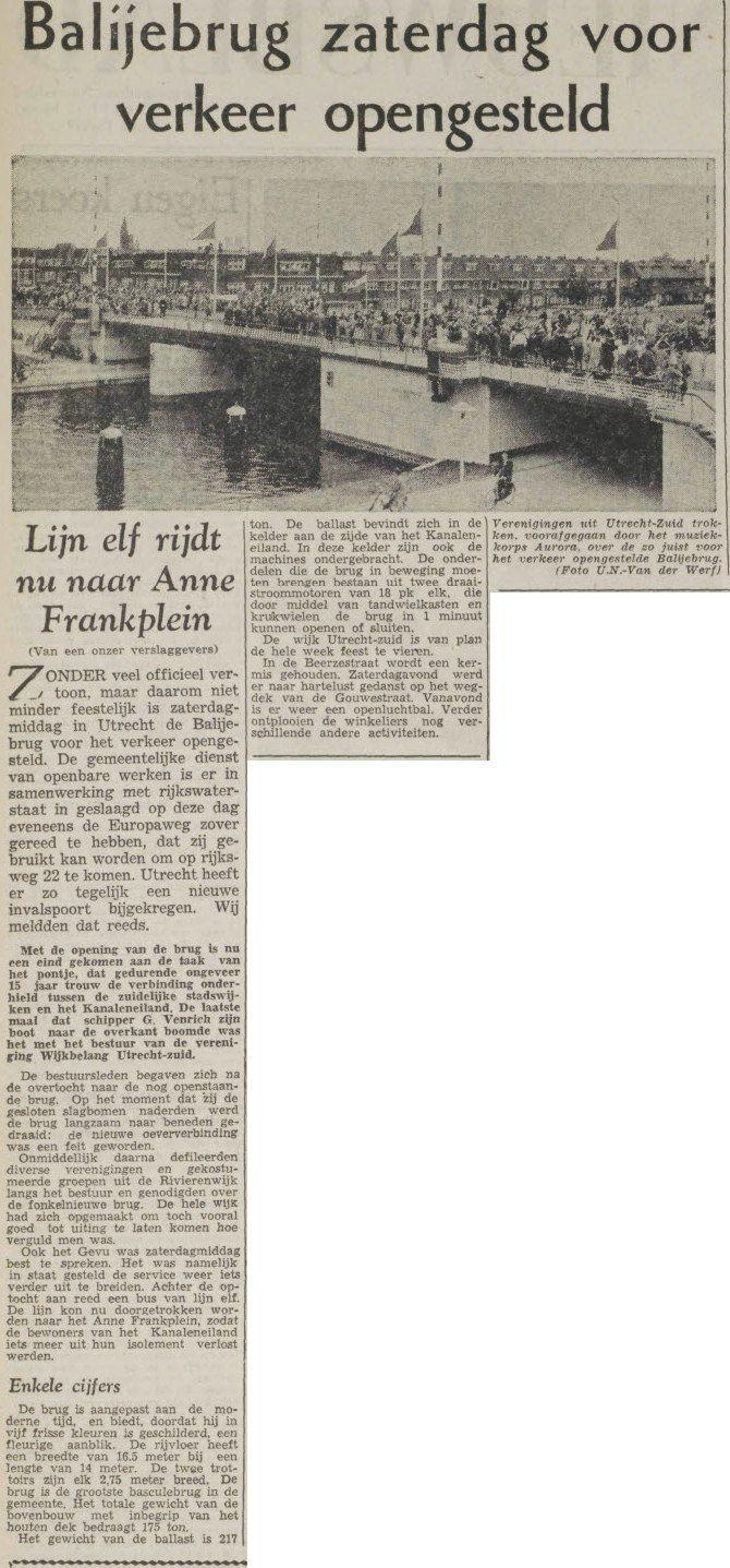 Met de opening van de Balijebrug is Kanaleneiland weer wat beter bereikbaar, en Rivierenwijk viert ook feest! UN, 29 juni 1959, pagina 2