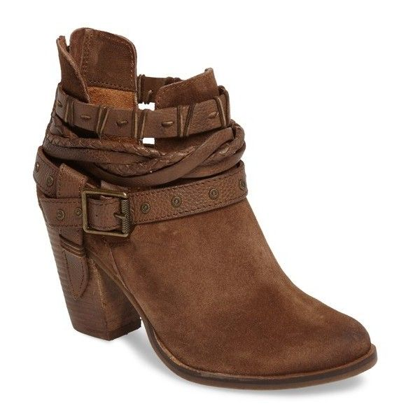 Women's Naughty Monkey Cuthbert Strappy Bootie (€93) ❤ liked on Polyvore featuring shoes, boots, ankle booties, tan suede, ankle boots, leather cowboy boots, short cowboy boots, cowboy boots and western booties