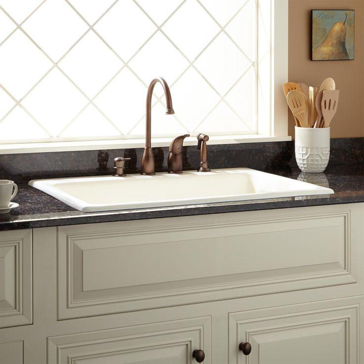 "42"" Cast Iron Wall-Hung Kitchen Sink With Drainboard - Kitchen Sinks - Kitchen"