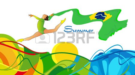 Summer 2016 Brazil Young gymnast woman in green sportswear dress with Brazilian flag doing art gymna Stock Vector