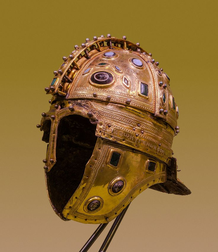 """Roman ridge helmet (Berkasovo I), early 4th century CE. Made of iron and sheathed in silver-gilt, it is decorated with glass gems. From the """"Berkasovo treasure"""", Muzej Vojvodine, Novi Sad (Serbia)."""