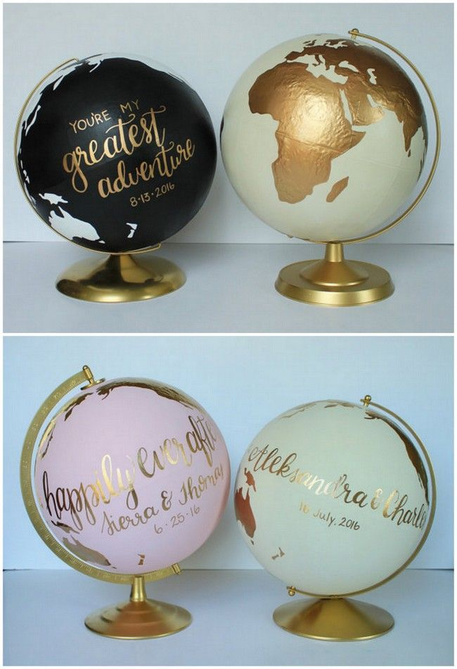 Use a custom wedding globes as your guest book! This hand painted globe with beautiful script lettering can be painted in silver or gold, with space for your wedding guests to sign. You then keep it as a gorgeous keepsake in your home forever after! Order it from Consider the World here, who donates a portion of the proceeds! Get more ideas here: http://www.confettidaydreams.com/travel-themed-wedding-ideas/