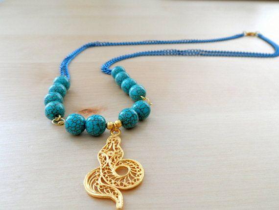 Turquoise Snake Necklace Pendant Necklace Turquoise by byshushu, $35.00