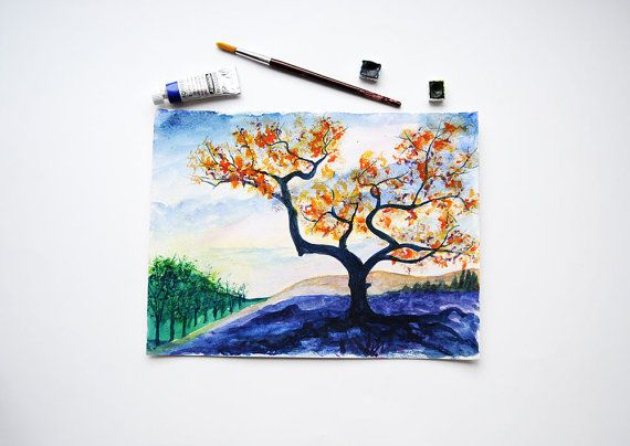 Tree Watercolor Painting / Original Watercolor by SundayWatercolor
