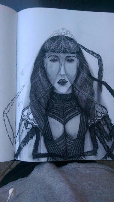 Black Widow in charcoal