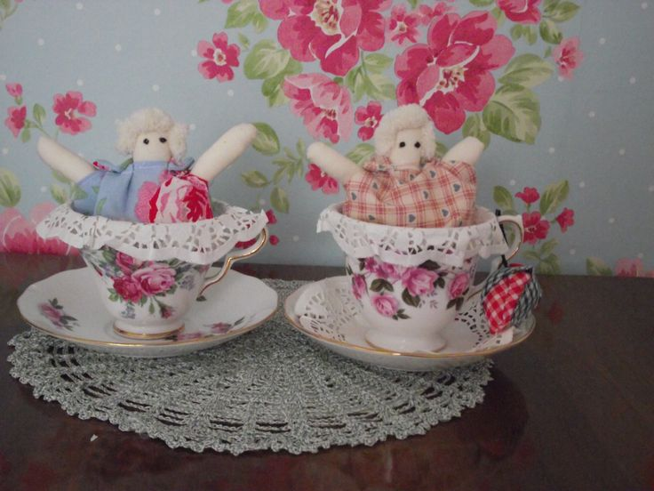 Tilda style tea cup babies in a vintage tea cup