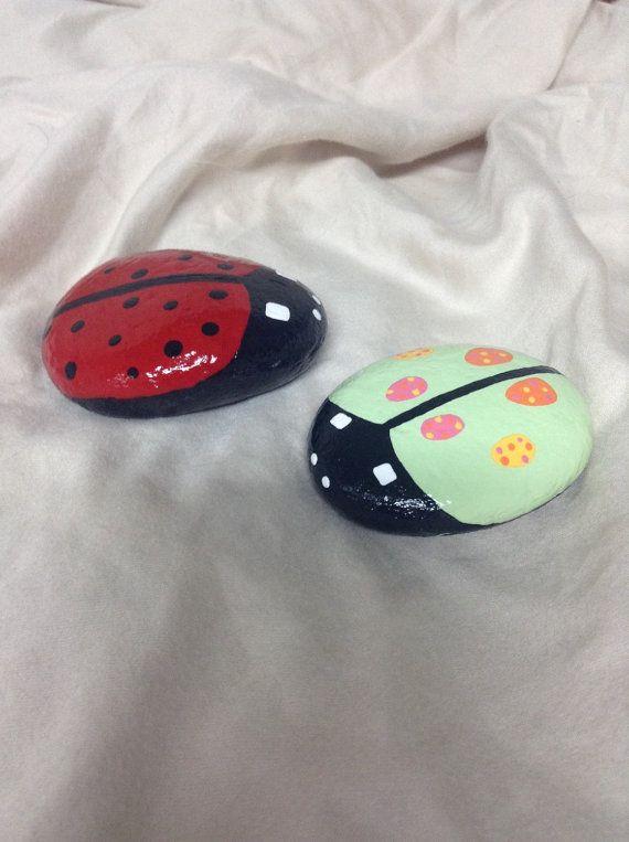 Hand painted ladybug garden rocks. Ladybug by SheilasGardenGirls