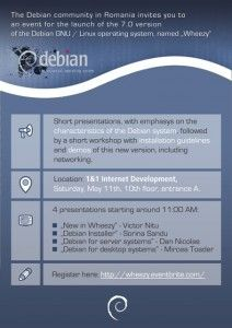 "The Debian community in Romania launched Debian ""Wheezy"" at 1&1 Internet Development, on May, 11th"