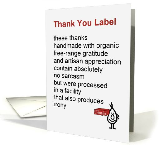 Thank You Label - a funny Thank You poem card (1357282)