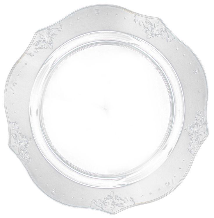 7 Clear Antique Plastic Dinner Plates Elegant