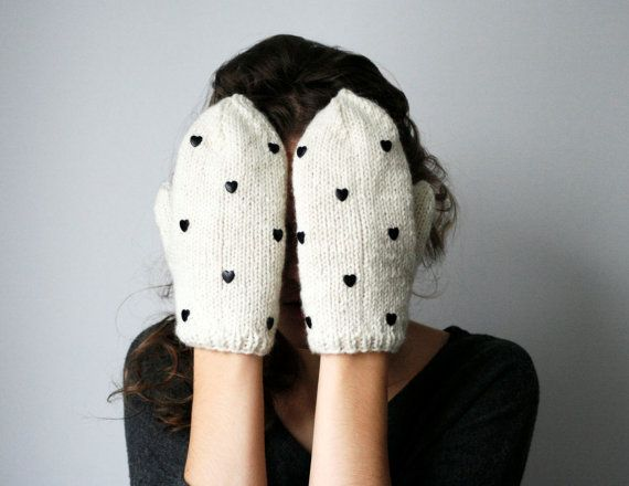 #etsy mittens ... handmade cute white ivory wool color mittens with black heart  shaped studs holiday knits