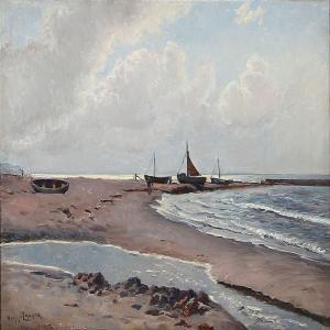 Viggo Langer (1860-1942): Beach Scene From Rågeleje, Denmark, 1917