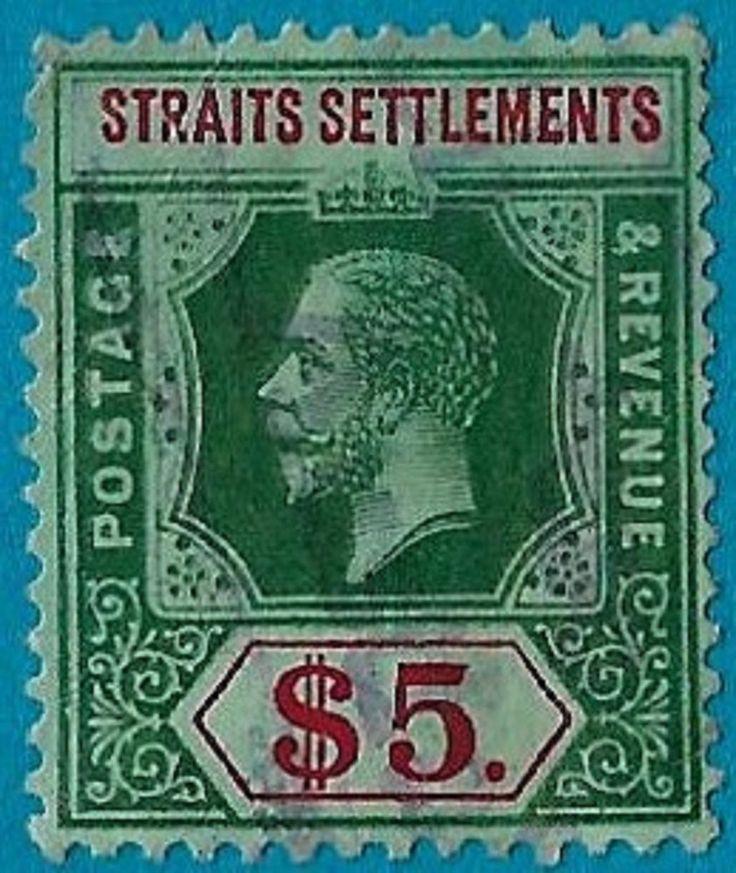 + 1915 Straits Settlements British King George V #167 A24 $5.used OG cv$70.
