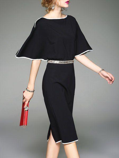 Black Batwing Sheath Binding Plain Midi Dress