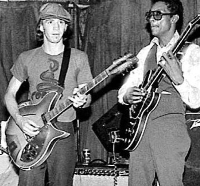 A very young Stevie Ray and Buddy Guy