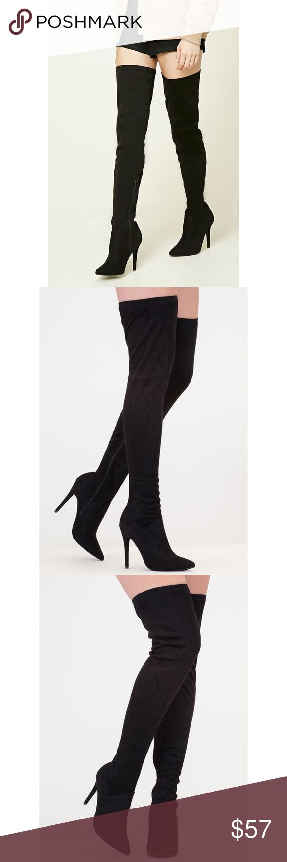 Thigh High Heeled Boots Thigh high heeled boots, only worn once for about two hours. I'm not big on pointed toe heels and would like to make my money back so that I️ can buy rounded toe ones! They have an adjustable tie back to them. Will come in the original box with dust bags! Tags: rag & bone nasty gal UNIF dollskill American apparel Tobi Charlotte Russe h&m lf free people forever 21 Bebe dolls kill classy American Eagle Hollister billabong la Hearts Kendall and Kylie lf express gojane…
