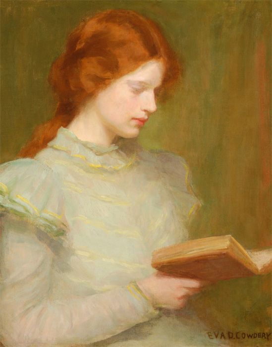 Young Girl Reading a Book. Eva D. Cowdery (American). Oil on canvas.