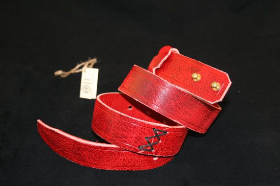 Handmade Calf Leather Belt - Red - Decorated - Gift for Her - Womans Belt - Adjustable - Unique - Beautiful - Calf Leather