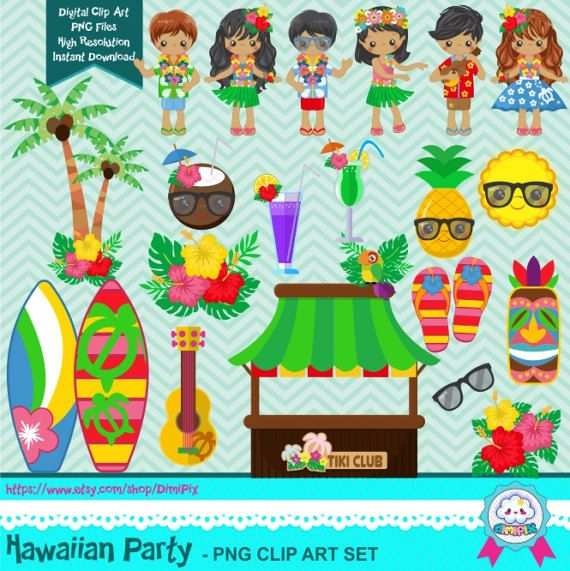 Hawaiian Party  Cute Luau  Tropical Clipart   Kit by DimiPix