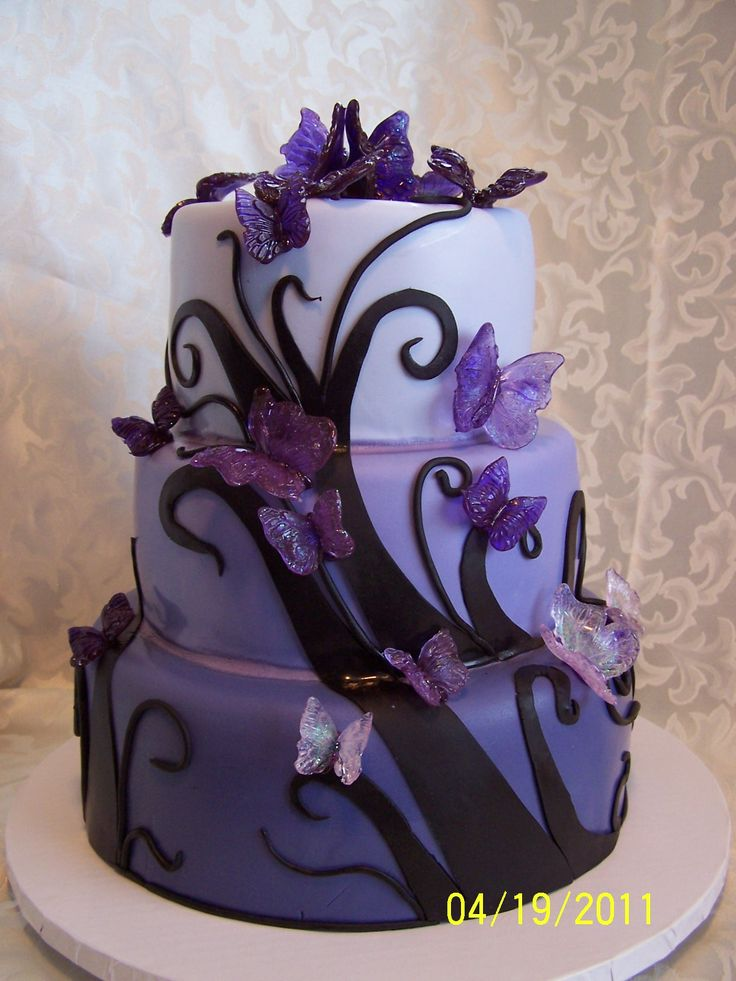 Purple Wedding Cakes Purple Butterfly Wedding - Cake ...