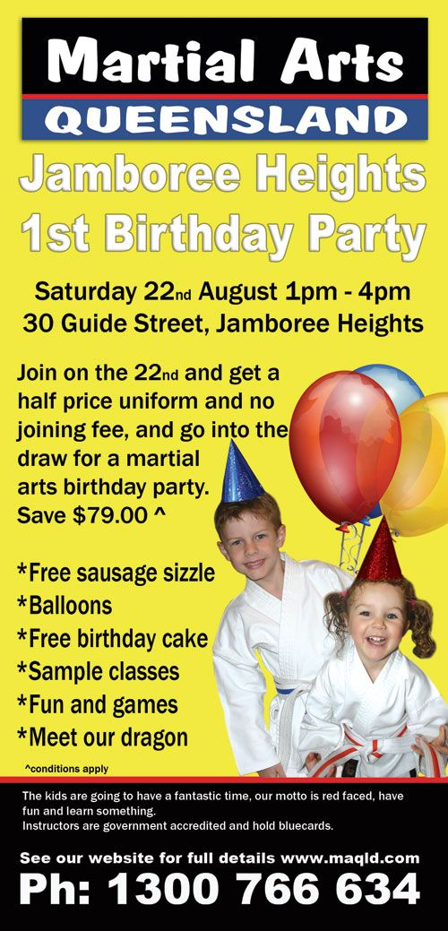 Join our Jamboree Heights 1st Birthday for a chance to win a Martial Arts Birthday party and more! 22.08.15 #MAQLD
