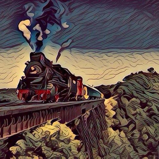 Steam train crossing a raised lane (Fauvism style). Tren de vapor cruzando un carril elevado (estilo Fauvismo). #tren #train #trenes #trains #railway #railways #ferrocaril #ferrocarriles #fauvism #fauvismo #art #arts #arte #artes #painting #paintwork #paintworks #picture #pictures