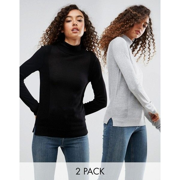 ASOS Jumper With Roll Neck And Rib Detail 2 Pack (£25) ❤ liked on Polyvore featuring tops, sweaters, multi, going out tops, party jumpers, party tops, long sleeve going out tops and long sleeve party tops