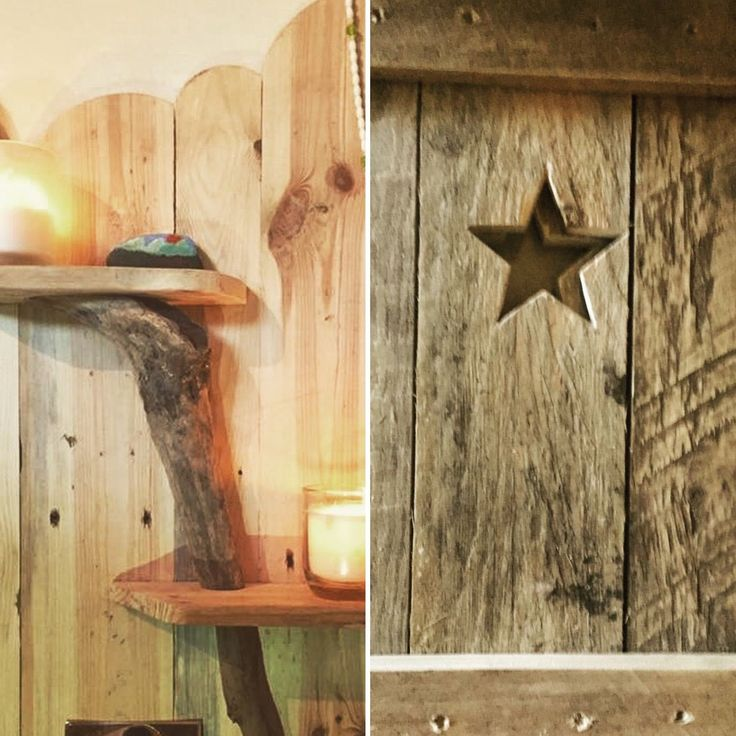 Driftwood linked shelving from the beaches of North Devon, combined with star cut out shutters help bring nature indoors, adding new textures and cosy aesthetic to your home.