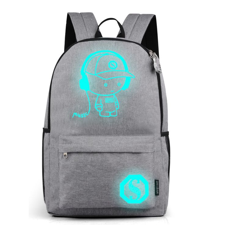 Multifunction Noctilucent Backpack Luminous Cartoon Travel Bag School Bags Teenagers Student Rucksack with USB Charger 2017 New