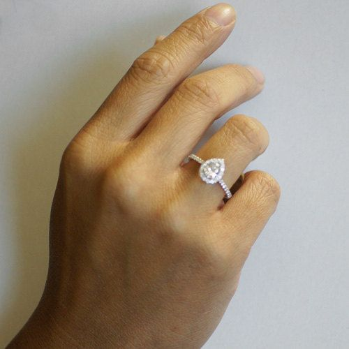 Oh mah gah Pear Shape Teardrop Diamond Halo Engagement Solitaire by SAMnSUE, $3140.00