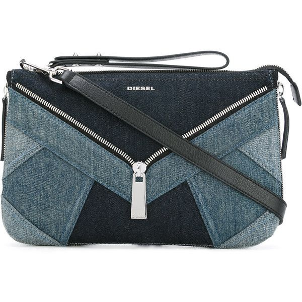 Diesel denim clutch bag (4,290 MXN) ❤ liked on Polyvore featuring bags, handbags, clutches, blue, diesel purse, blue handbags, blue clutches, diesel handbags and denim purse