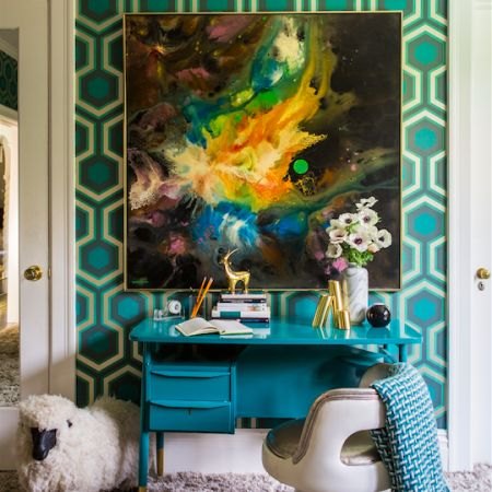 blue desk, blue wallpaper, Interior Design by Tamara Kaye-Honey