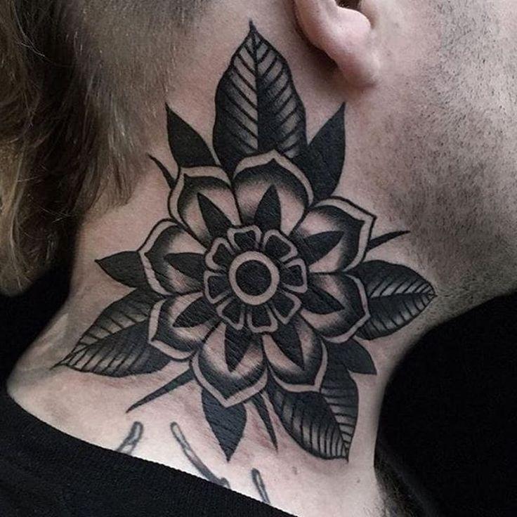 Old School Flower Tattoo von Austin Maples # Flower #traditional #blackwork #neck …   – Tattoo Inspiration – #Austin #Blackwork