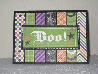 All those great little scraps of Halloween paper now have a use on this handmade card.  Add a spooky sentiment and the scraps will be like new.