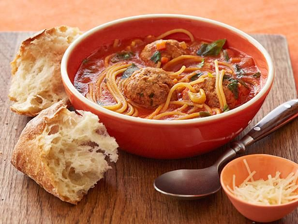 """Spaghetti and Meatball """"Stoup"""": If you're having trouble deciding what kind of meat you're in the mood for, try Rachel's Spaghetti and Meatball """"Stoup."""" This recipe calls for a meatloaf mix made from ground beef, pork and veal, available at most butcher counters."""