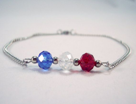 Crystal Anklet Red White and Blue by theicepalace on Etsy #handmade #jewelry #anklet #red, #white #blue #American, #flag #Patriotic #nautical #ankle #bracelet