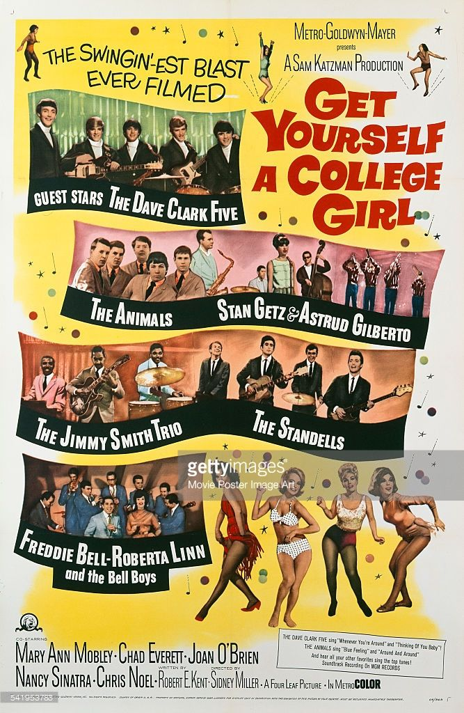 A poster for the US release of Sidney Miller's 1964 comedy, 'Get Yourself A College Girl', starring <a gi-track='captionPersonalityLinkClicked' href=/galleries/search?phrase=Mary+Ann+Mobley&family=editorial&specificpeople=91492 ng-click='$event.stopPropagation()'>Mary Ann Mobley</a>, Joan O'Brien, <a gi-track='captionPersonalityLinkClicked' href=/galleries/search?phrase=Nancy+Sinatra&family=editorial&specificpeople=92186 ng-click='$event.stopPropagation()'>Nancy Sinatra</a> and Chris Noel…