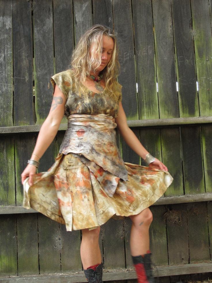 felted silk dress with felt obi. Created by Susan Fell Mclean Gondwana Textiles Australia