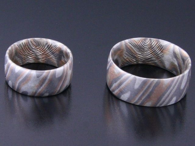 #Rings by #Bielak  #palladium / pink gold / silver  #mokume #gane  with #fingerprint  #unique #wedding rings from #Poland