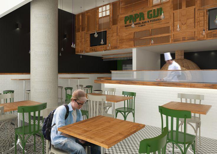 Restaurante em Ipanema po Tripper Arquitetura www.tripperarquitetura.com.br #restaurant #tile #pizza