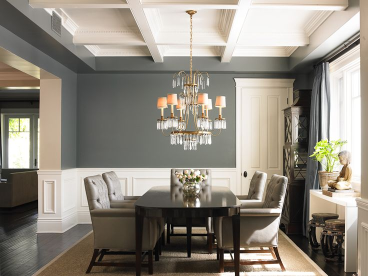 Stunning traditional formal dining room get the look with dunn edwards calico rock de6229 and - Gray interior paint ...