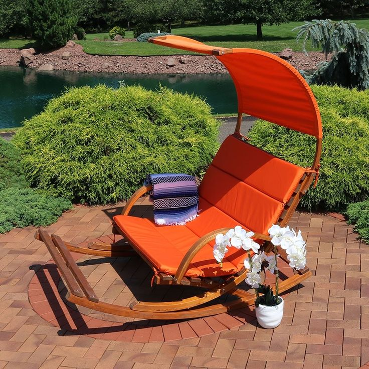 Sunnydaze Outdoor Wooden Rocking Cushioned Loveseat with Footrest and Canopy, Orange, Patio Furniture